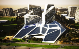 vertical village dubai-bahrain- solar panel- sustainable architecture